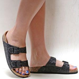 New Black Glitter Cork Slip On Slides Sandals